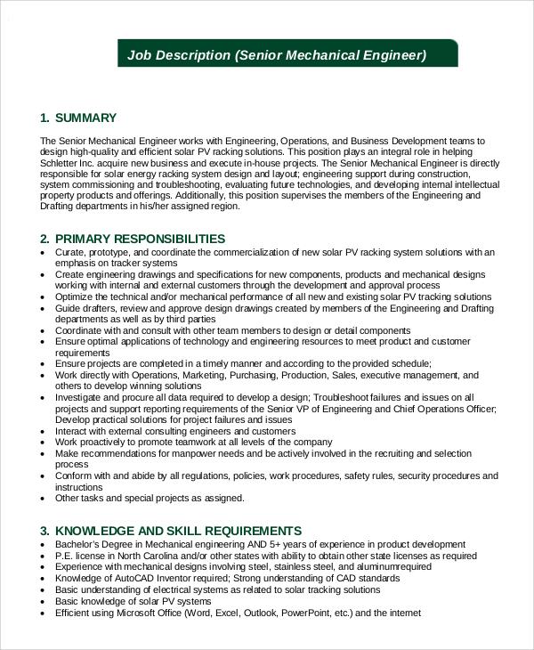 Senior Programmer Job Description Samples - project engineer job description