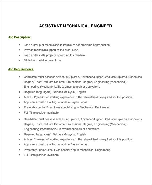 8+ Mechanical Engineer Job Description Samples Sample Templates