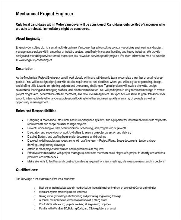 Sample Mechanical Engineer Job Description - 8+ Examples in Word, PDF - job qualifications list