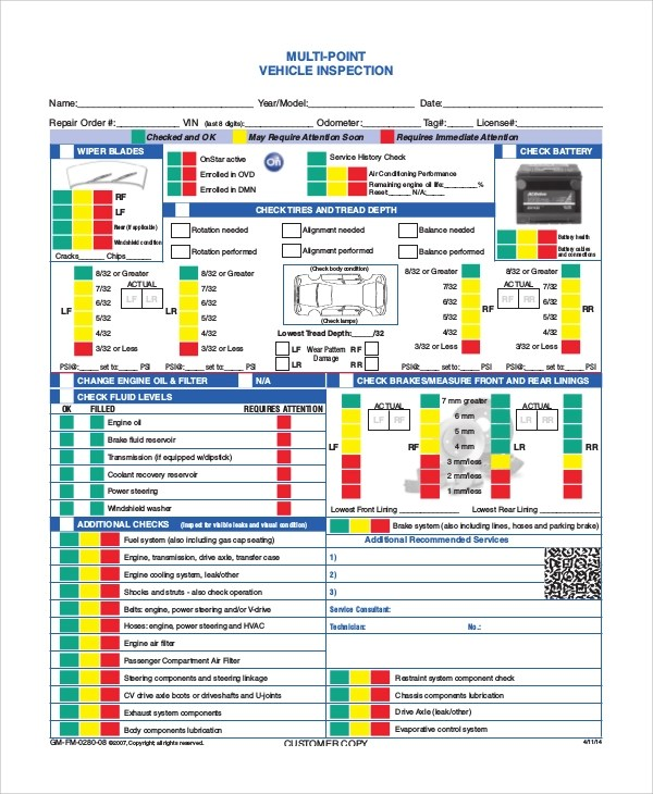 Sample Vehicle Inspection Form - 8+ Examples in Word, PDF - vehicle inspection form