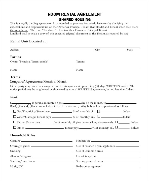 Room Rental Agreement Simple Form | It Consulting Case Study Examples