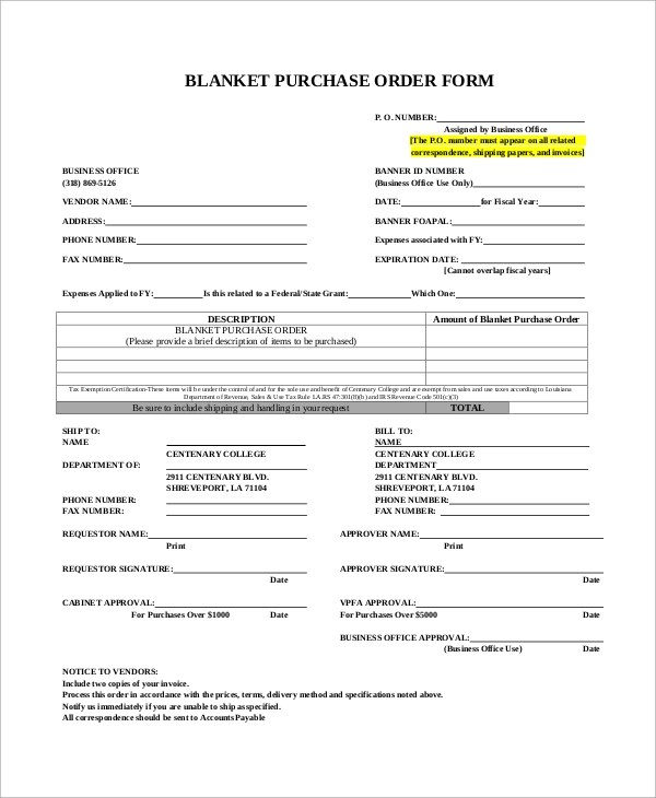 11+ Sample Purchase Order Forms Sample Templates