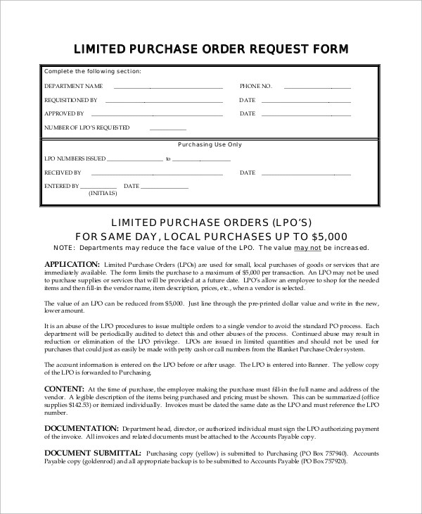 Sample Purchase Order Form - 9+ Examples in Word, PDF - vendor request form