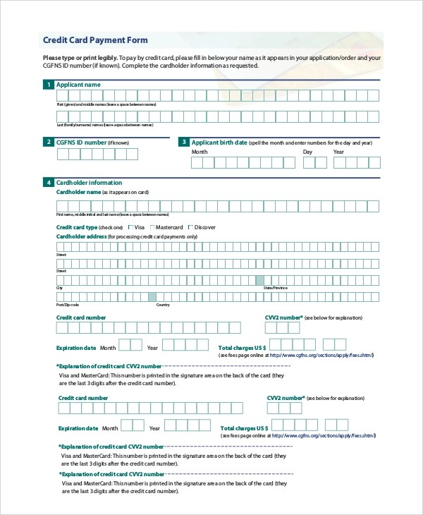 8+ Sample Payment Forms Sample Templates - sample form