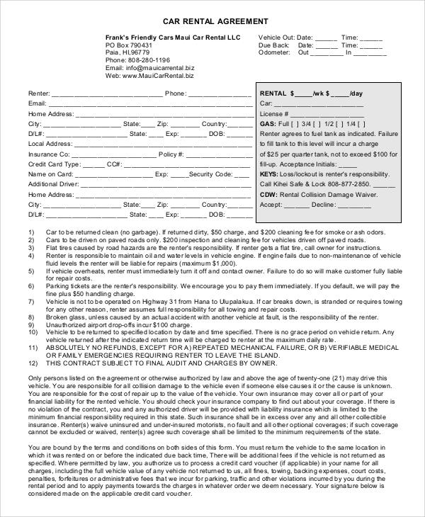 Sample Rental Agreement - 9+ Examples in PDF, Word