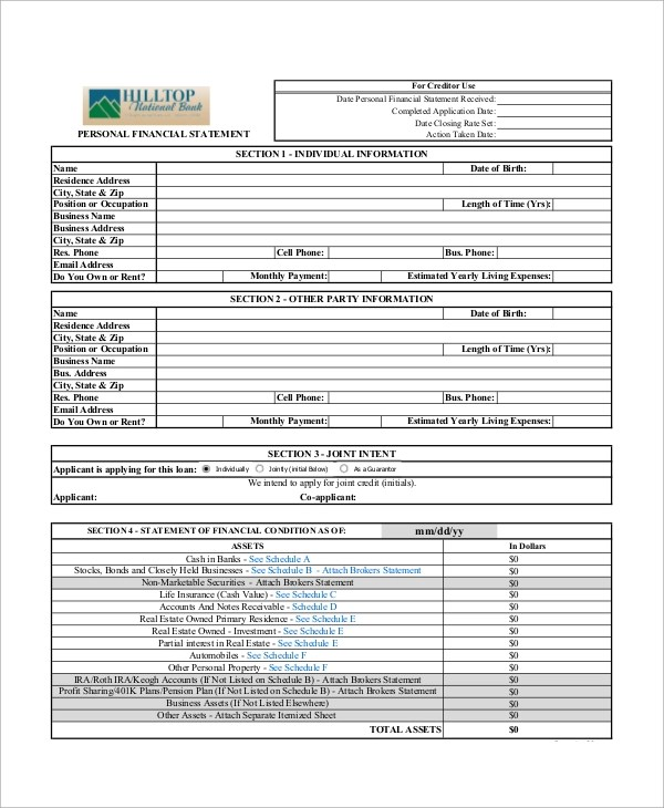 Sample Personal Financial Statement Form - 9+ Examples in PDF - financial statement form