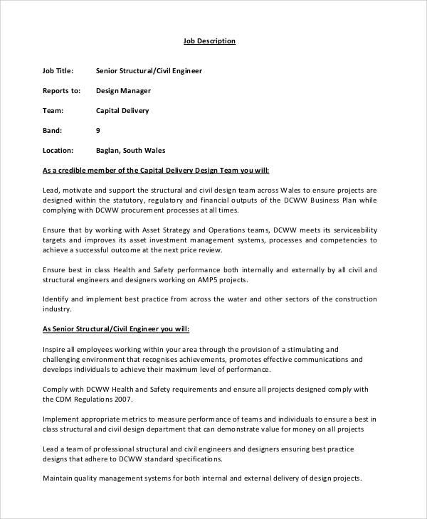 8+ Civil Engineer Job Description Samples Sample Templates - structural engineer job description