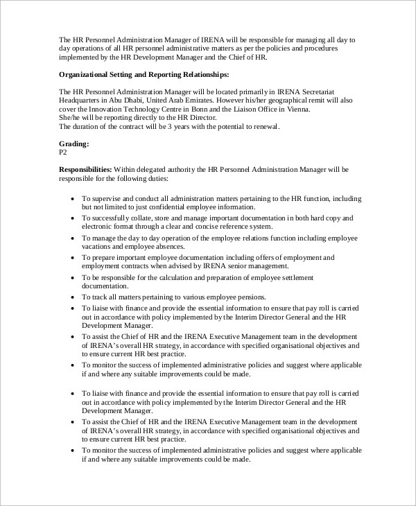 Sample HR Manager Job Description - 10+ Examples in PDF