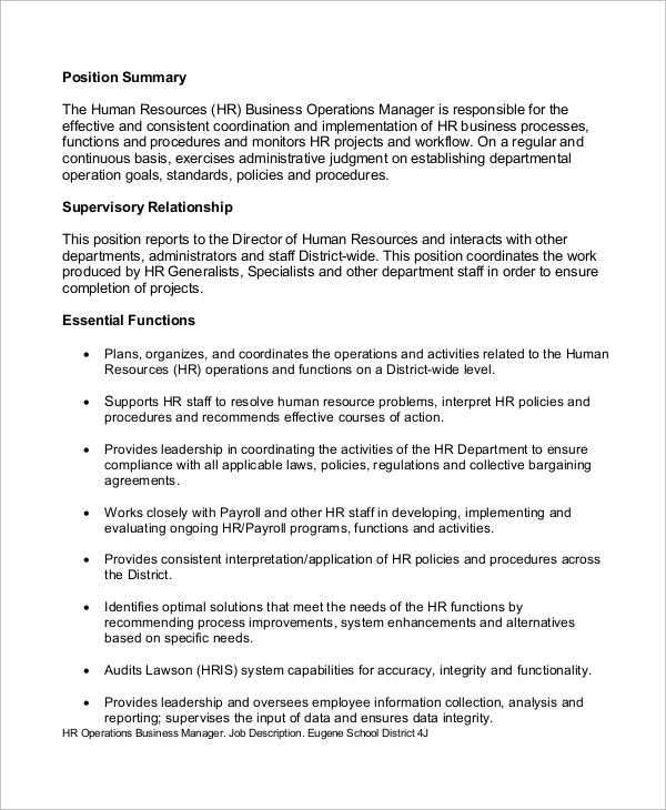 Sample HR Manager Job Description - 10+ Examples in PDF