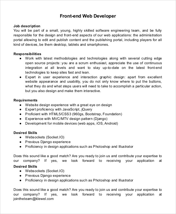 Web Developer Job Description  EnvResumeCloud