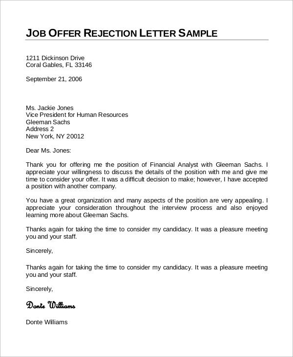 job candidate rejection letter samples