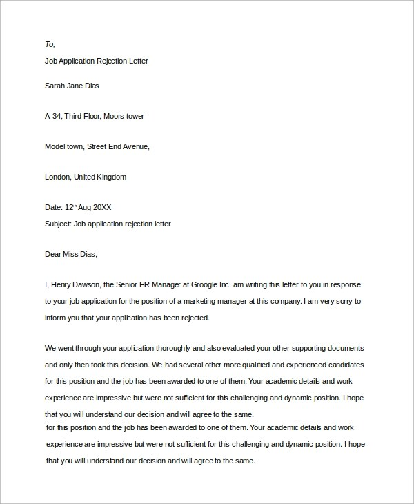 8+ Sample Job Rejection Letters Sample Templates