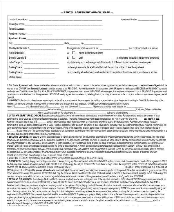 9+ Printable Lease Agreements Sample Templates - printable rental agreement