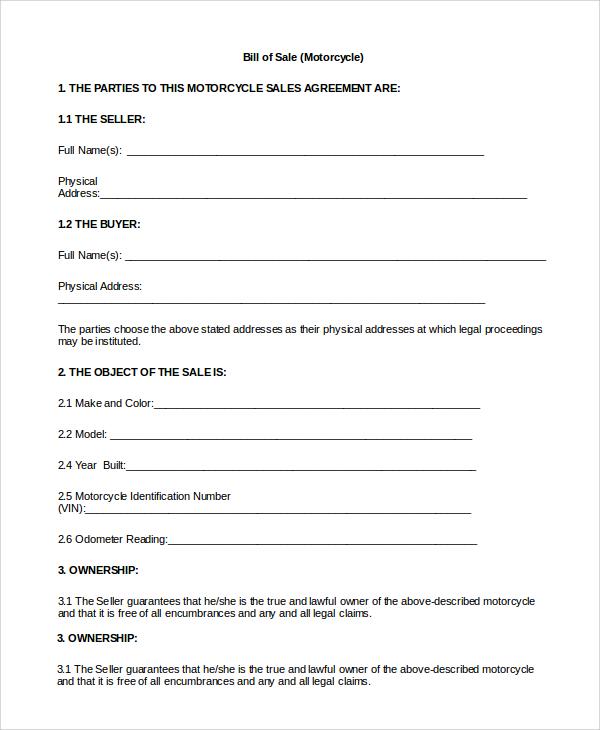 Sample Motorcycle Bill of Sale - 8+ Examples in PDF, Word