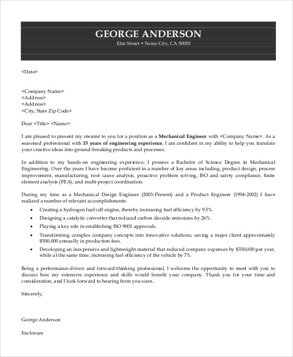 7+ Sample Engineering Cover Letters Sample Templates - sample engineer resume cover letter