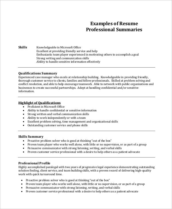 samples of professional summary resume