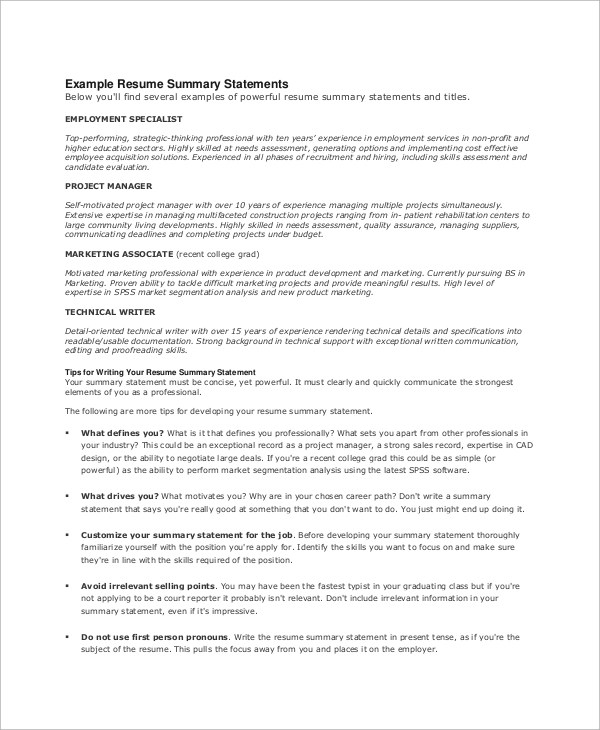 8+ Resume Summary Examples Sample Templates - examples of a resume summary