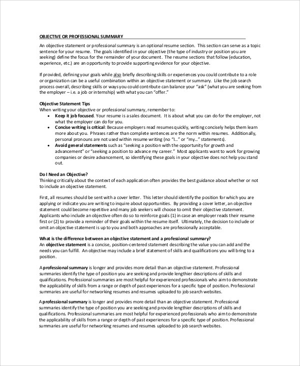 Resume Summary Example - 8+ Samples in Word, PDF - summary example resume