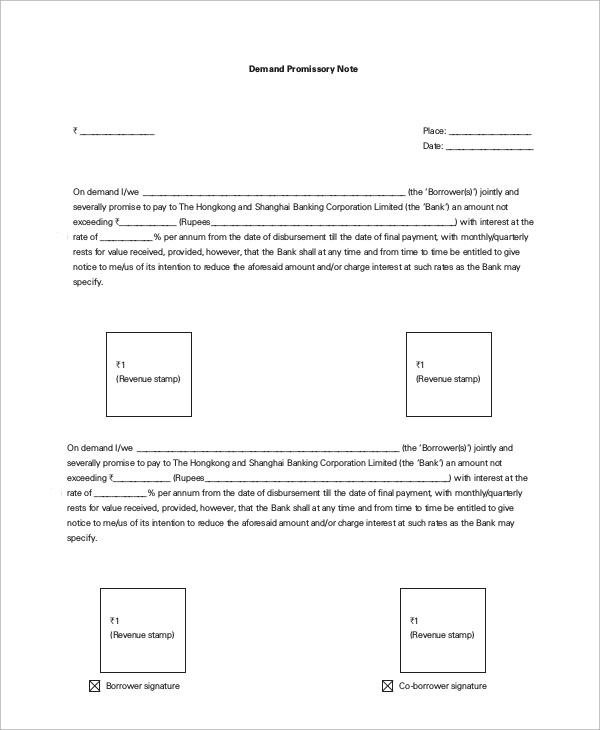 Sample Promissory Note Demand Note Template Sample Form Biztree Com