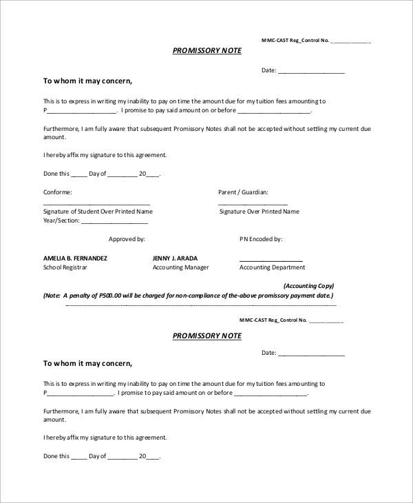 13+ Promissory Note Samples Sample Templates - promissory letter sample