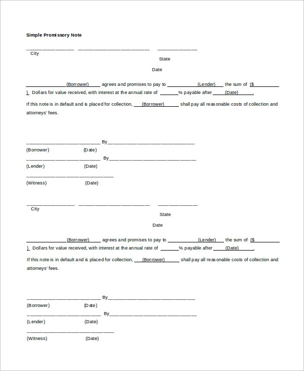 13+ Promissory Note Samples Sample Templates - blank promissory notes