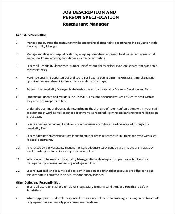 8+ Restaurant Manager Job Description Samples Sample Templates