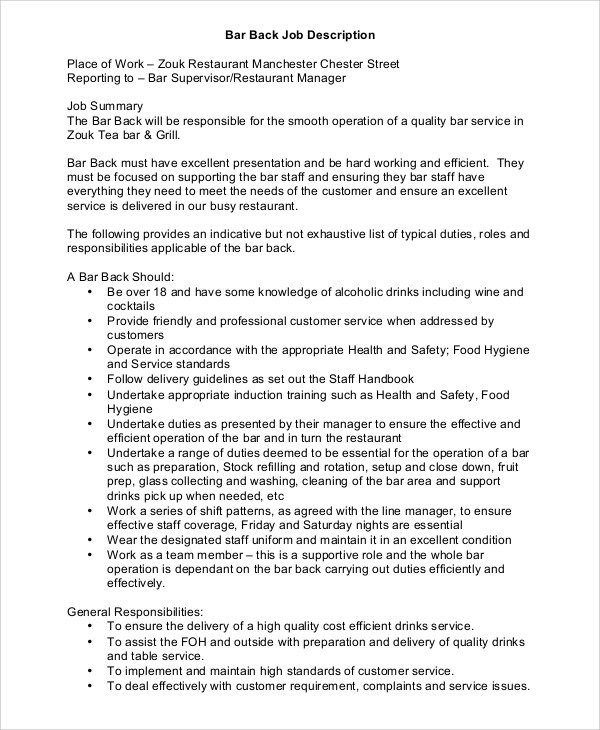 Sample Restaurant Manager Job Description - 8+ Examples in PDF, Word - customer service manager job description