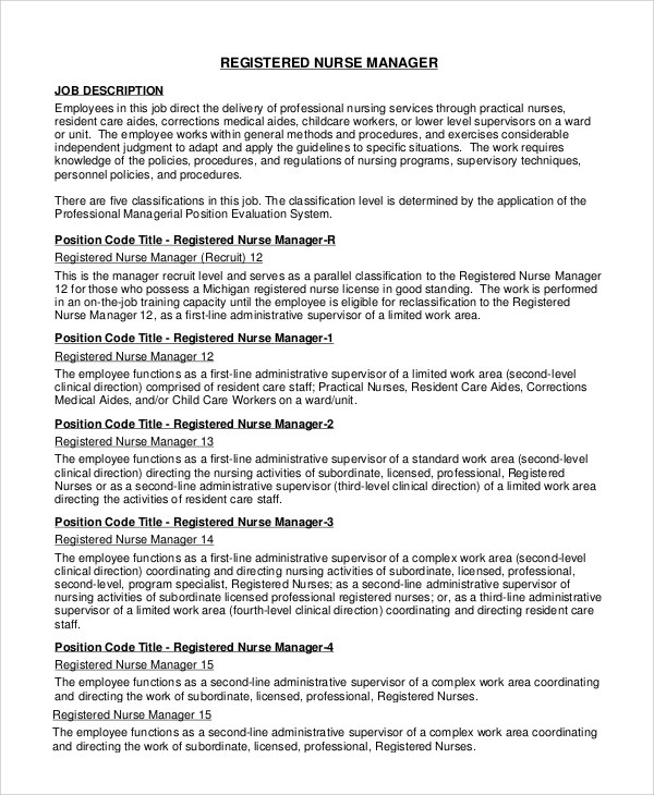 9+ RN Job Description Samples Sample Templates - nurse job description