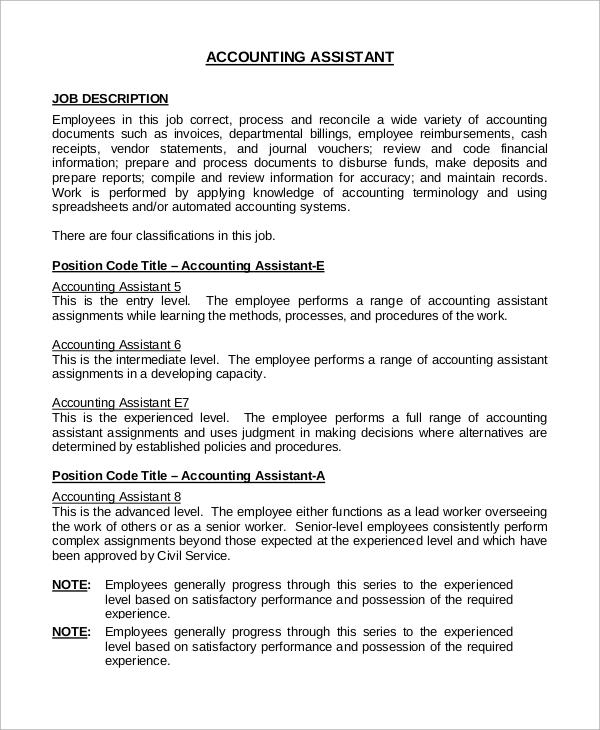 8+ Accounting Job Description Samples Sample Templates