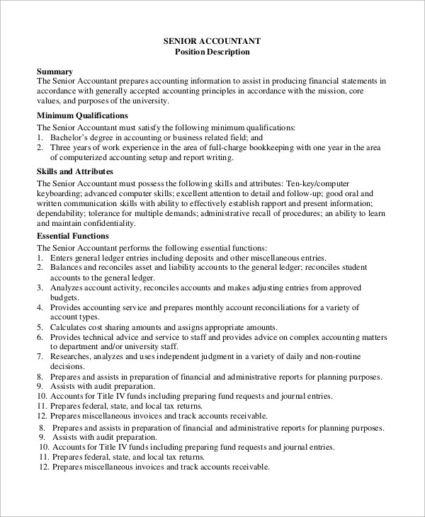 8+ Accounting Job Description Samples Sample Templates - senior accountant job description
