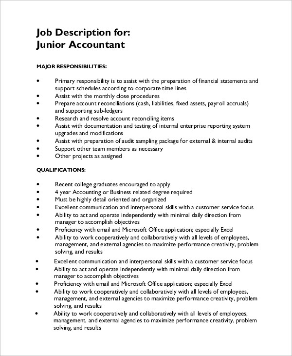 Accounting Resume Job Description Accounting Manager Sample Job Description 2 Sample Accounting Job Description 8 Examples In Pdf