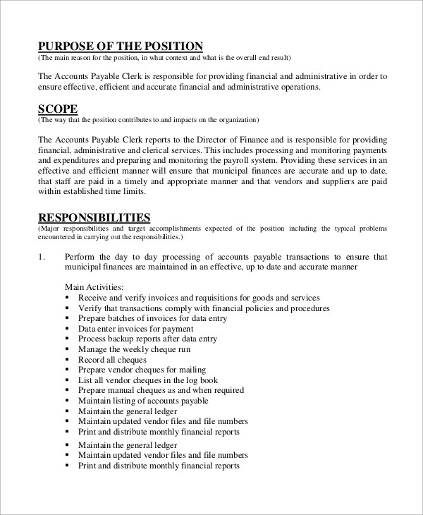 Sample Accounting Job Description - 8+ Examples in PDF - accounting clerk job description