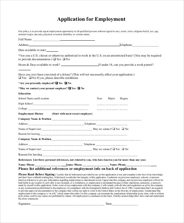 8+ Generic Job Application Samples Sample Templates - sample generic application for employment