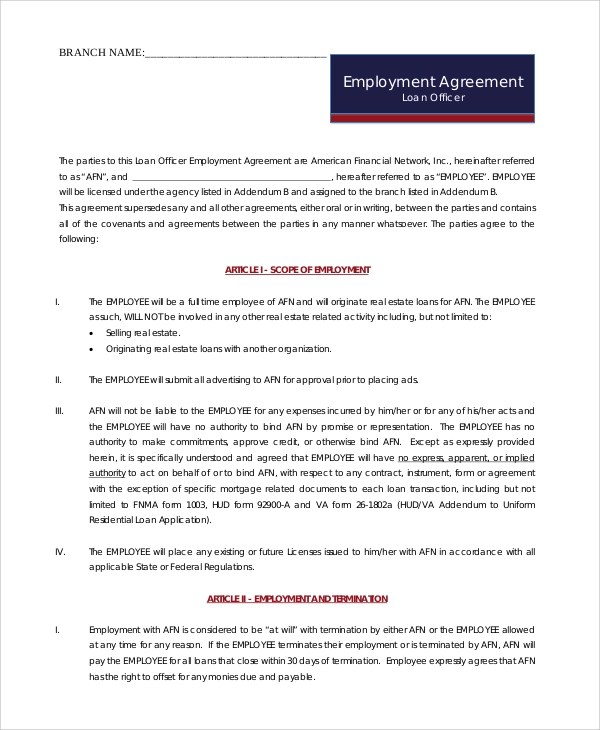 6+ Sample Sales Employment Agreements Sample Templates - employment agreement contract