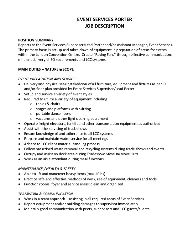 Sample Porter Job Description - 10+ Examples in Word, PDF
