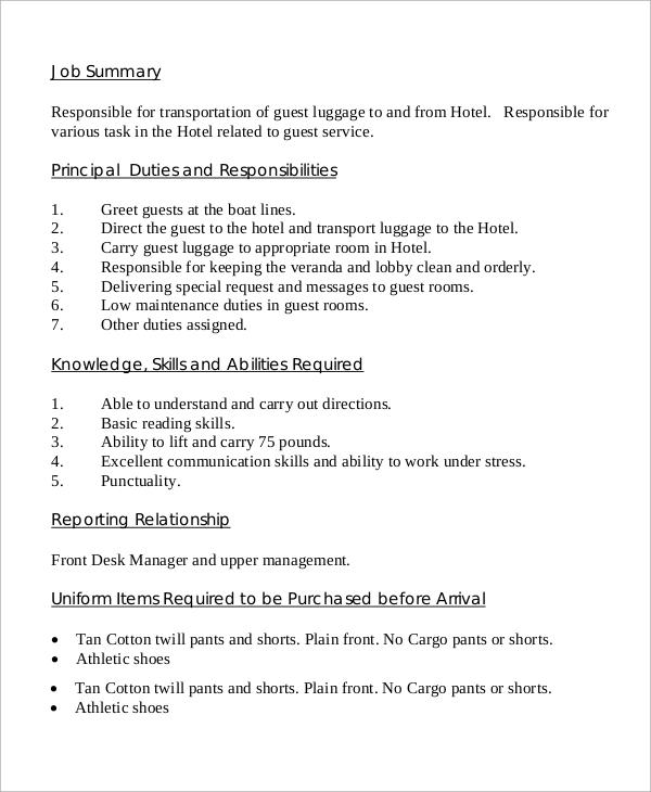 sample job description templates