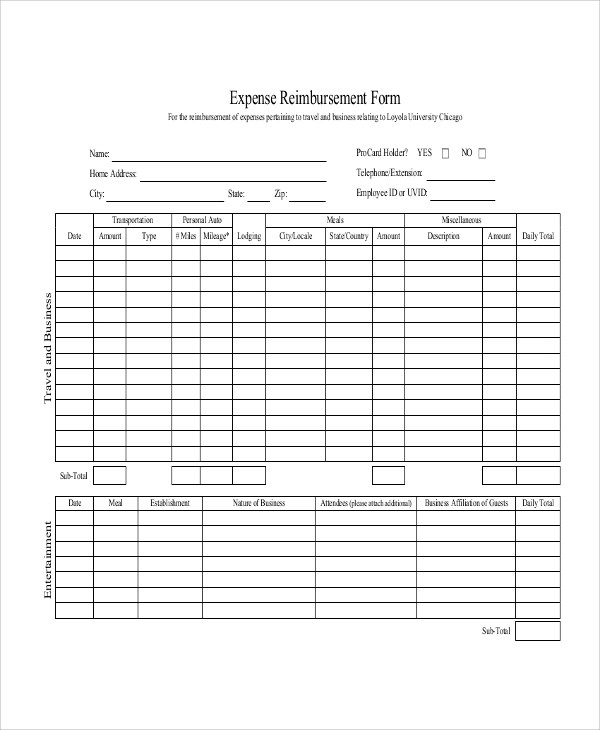 Sample Mileage Reimbursement Form - 11+ Examples in Word, PDF, Excel - expense reimbursement form