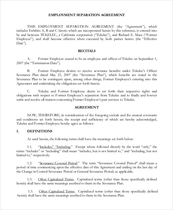 Standard Employment Agreement Sample - 8+ Examples in PDF, Word - employment separation agreement