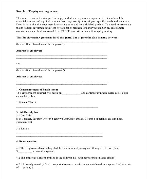 Standard Employment Contract. standard employment agreement awesome ...