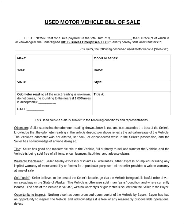 Sample Bill of Sale for Vehicle - 8+ Examples in Word, PDF - sample auto bill of sale