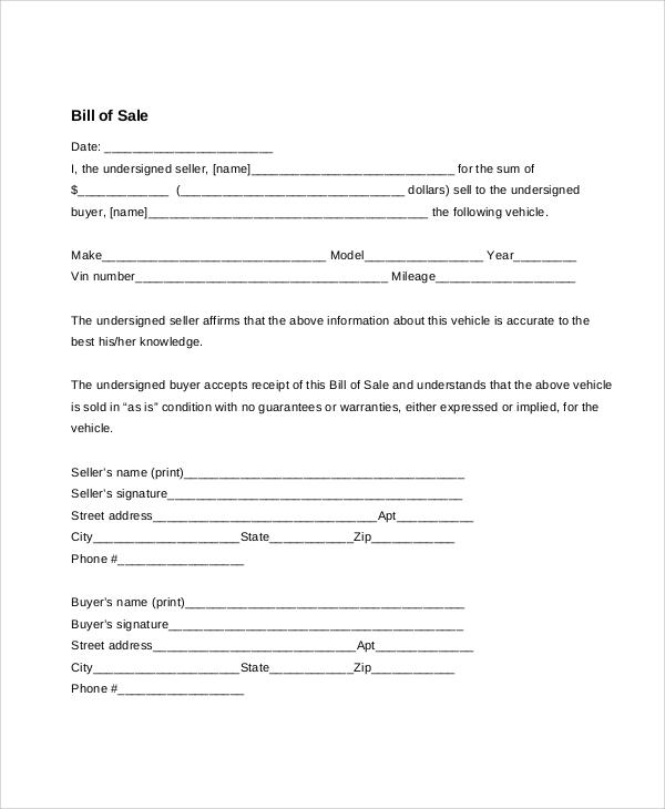 blank bill of sale for auto - Josemulinohouse - blank bill of sale for automobile