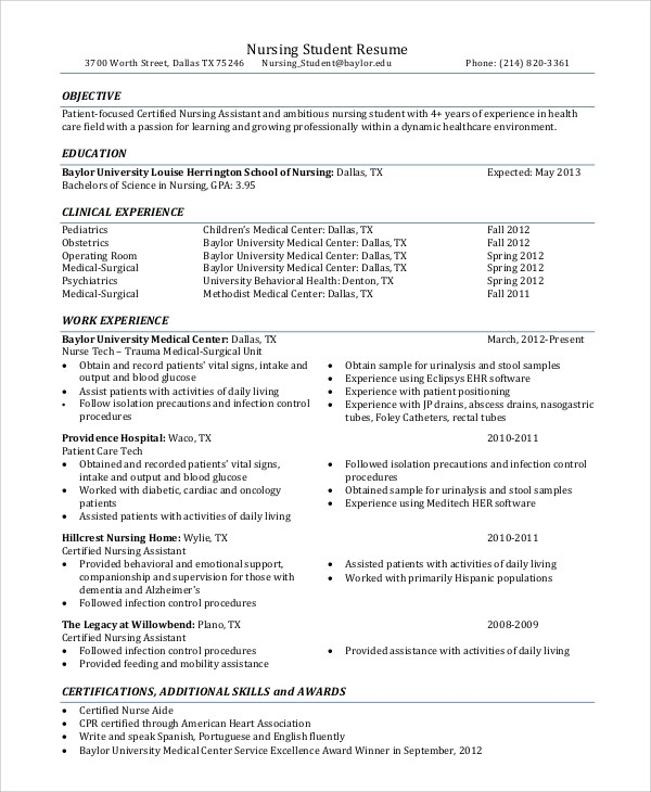 8+ Resume Objective Examples Sample Templates - objective examples for resume for students