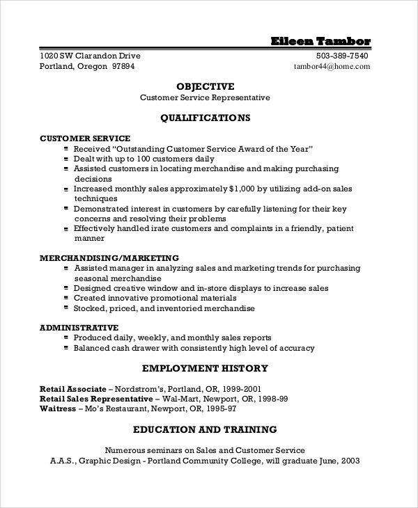 8+ Resume Objective Examples Sample Templates - Objectives For Customer Service Resumes