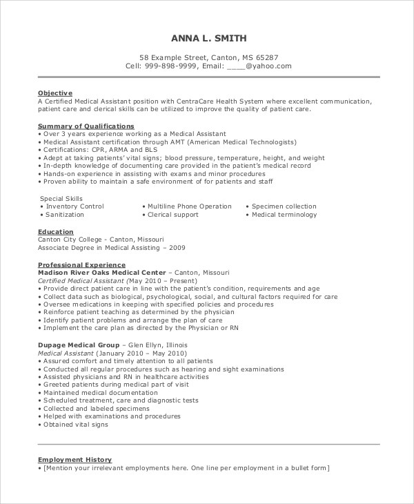 8+ Resume Objective Examples Sample Templates - resume objective examples for medical assistant