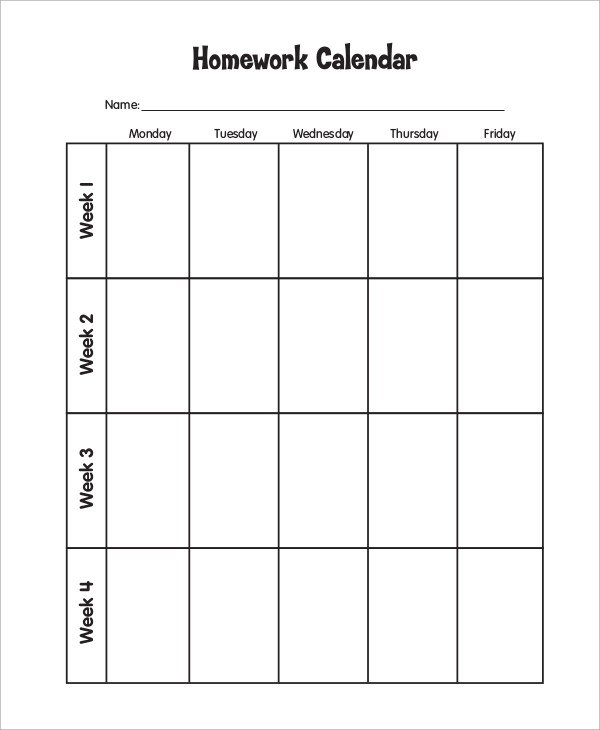 printable homework calendar - Selol-ink