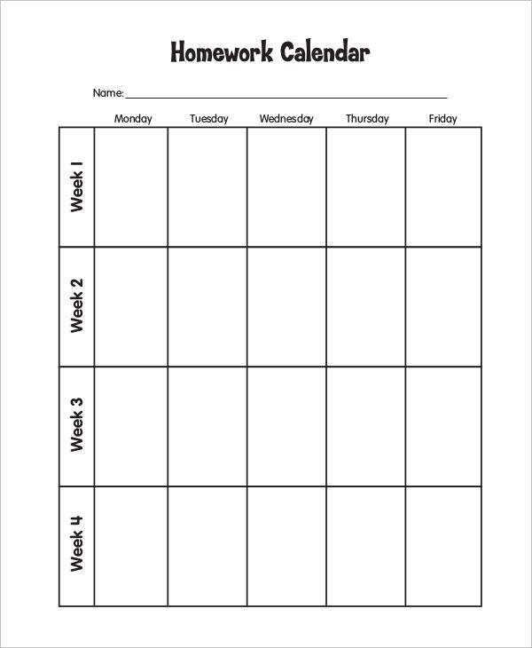 weekly assignment calendar templates