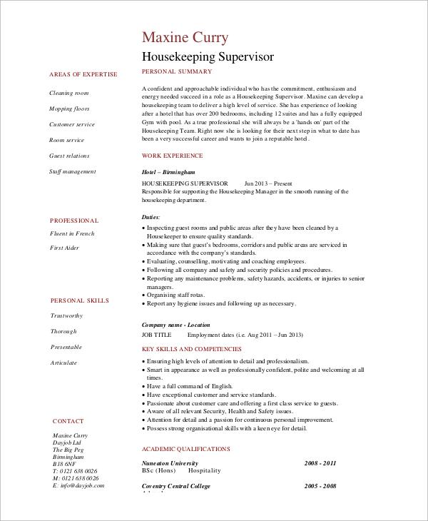 7+ Sample Housekeeping Resumes Sample Templates - resume examples housekeeping