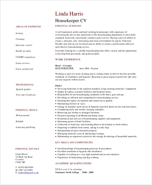 Sample Housekeeping Resume - 7+ Examples in Word, PDF