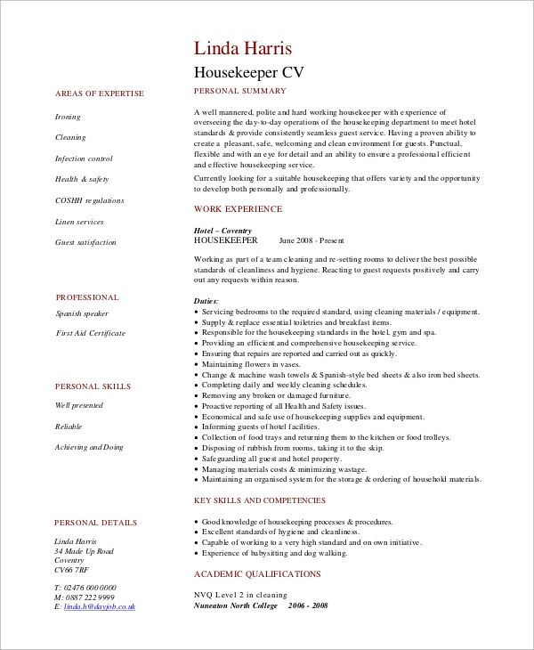 hotel housekeeping manager resume template