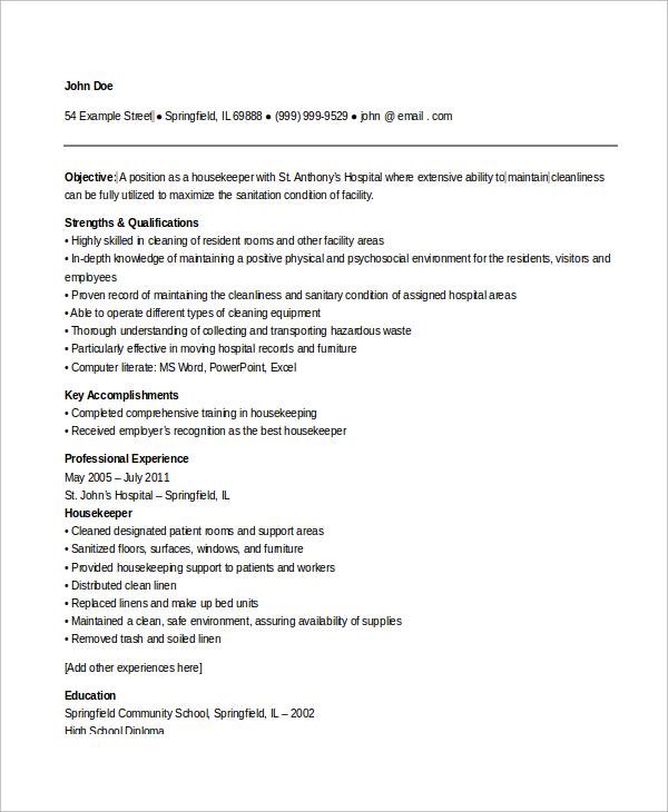housekeeping resume sample hospital